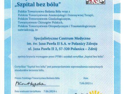 Certyfikat Szpital bezbólu